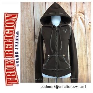 🐒True Religion Brown Classic Hoodie size XSMALL